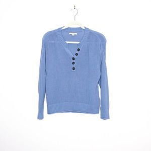 AMERICAN EAGLE Henley Pullover Sweater Chunky Blue